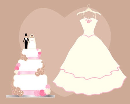 tiers: an illustration of a wedding greeting card with dress and decorative cake on a chocolate brown background Illustration