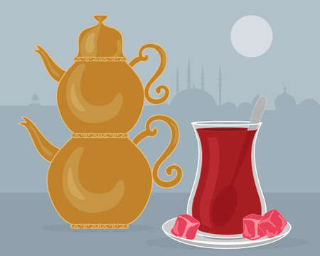 turkish dessert: illustration of a fancy brass turkish teapot with a glass of tea on a saucer with spoon Illustration