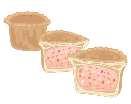 butcher's shop: an illustration of crusty pork pies one cut in half on a white background