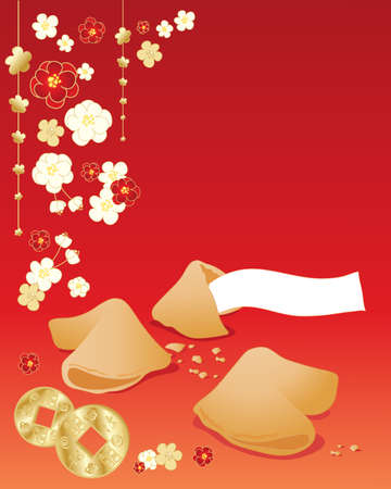 chinese new year card: an illustration of a chinese greeting card with fortune cookies blossom and golden coins on a red background