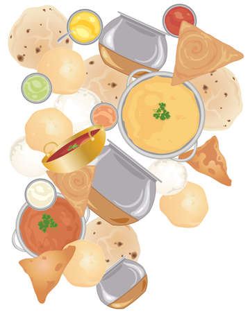 indian food: an illustration of indian street food including samosas idly chapati,curries dahl and dosas scattered on a white