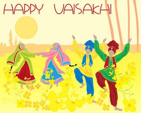 folk dance: an illustration of a folk dance amongst the mustard crops of rural punjab with the greeting happy vaisakhi