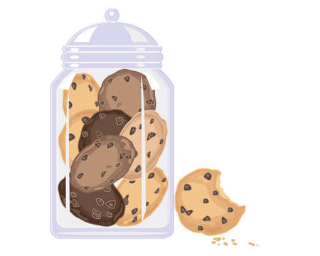 bites: an illustration of a glass jar with delicious home made chocolate chip cookies inside and cookie with bite mark and crumbs on a white background