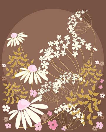golden daisy: una ilustraci�n de margaritas y el perejil vaca flores con hojas de oro sobre un fondo de chocolate Vectores