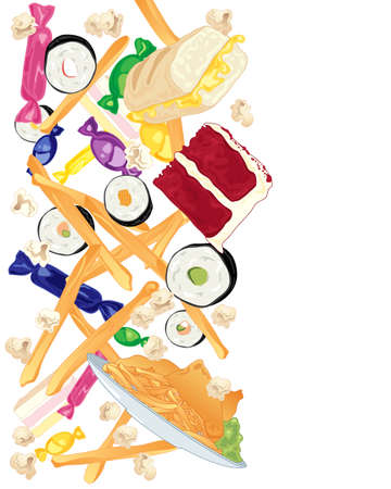 fish and chips: an illustration of a variety of delicious fast food including sweets chips sushi rolls red velvet cake fish and chips and popcorn on a white background Illustration