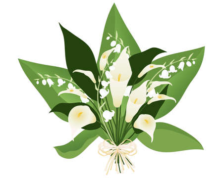 an illustration of a lily boquet with white flowers and large green leaves on a white background