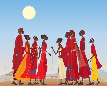an illustration of a group of masai men and women in traditional clothing in an arid african landscape