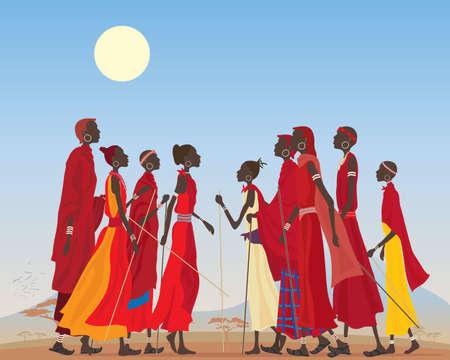 paisagem: uma ilustração de um grupo de homens e mulheres masai em roupas tradicionais em uma paisagem árida africano Ilustração