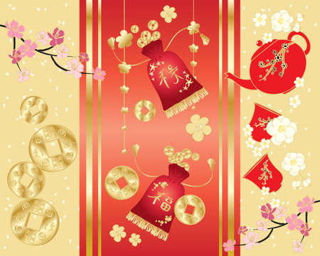 good luck: an illustration of a festive chinese greeting card with money purses blossom confetti and teapot on a gold and red background