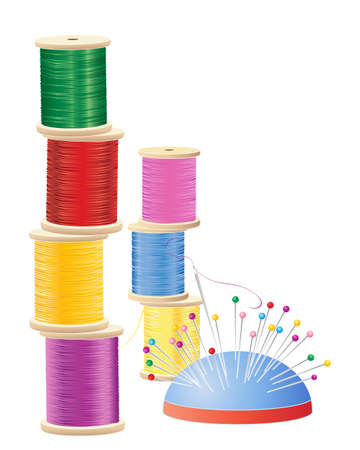 needle cushion: an illustration of a stack of colorful cotton reels with pin cushion and needle on a white background