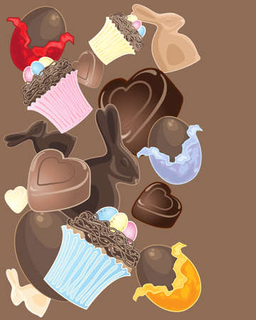 easter nest: an illustration of delicious easter confectionery including chocolate eggs bunnies cupcakes and hearts scattered on a brown background