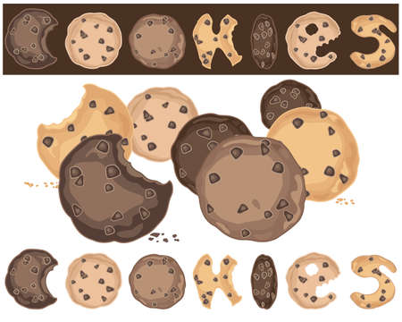 chocolate chip: an illustration of an abstract cookie background with delicious chocolate chip cookies on white