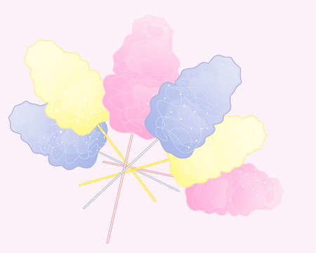 spun sugar: an illustration of a pastel color cotton candy advert on a sweet pink background Illustration