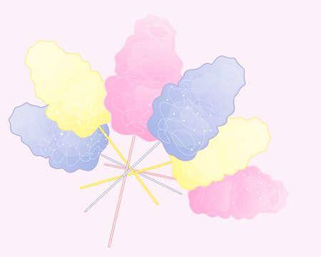 cotton candy: una ilustraci�n de un anuncio de algod�n de az�car de color pastel sobre un fondo de color rosa dulce
