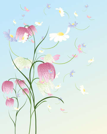 An illustration of a pastel color spring flower background with an illustration of a pastel color spring flower background with fritillarias and daisies on a blue mightylinksfo