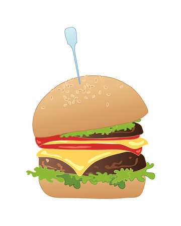 trimmings: an illustration of a delicious american slider burger in a bun with all the trimmings on a white background Illustration