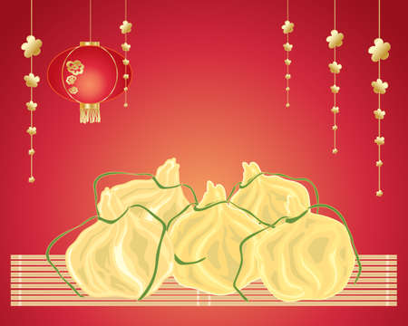 bamboo mat: an illustration of delicious chinese steamed dumplings with decorations and bamboo mat on a red background