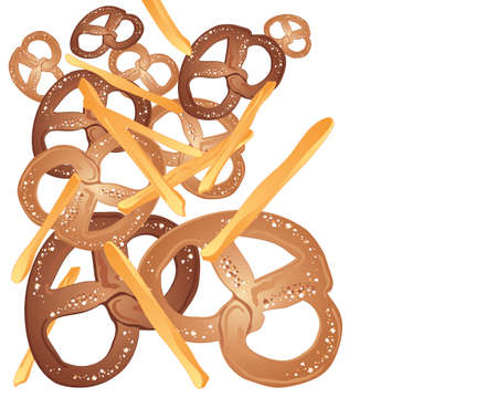 comfort food: an illustration of pretzel and french fries snacks scattered on a white background with space for text