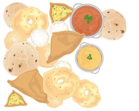 an illustration of indian snacks including vegetable samosas vaada chapati idly and poori scattered on a white background