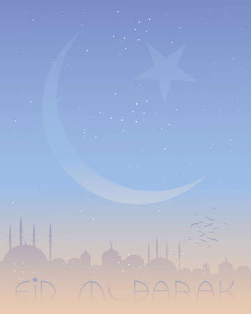 crescent moon: an illustration of an eid greeting card with islamic skyline and crescent moon on a starry background