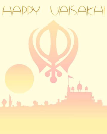 gurdwara: an illustration of a festive vaisakhi greeting card with sunset gurdwara on a lemon background