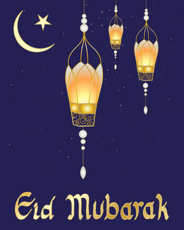 an illustration of a festive eid card with fancy lanterns crescent moon symbol and a starry dark sky Vector
