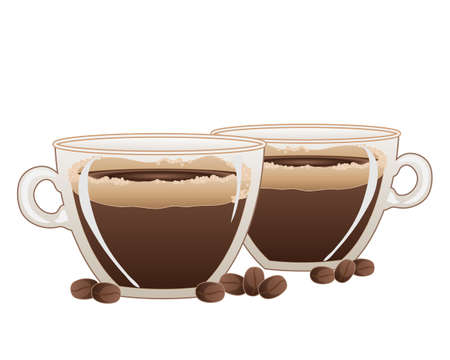 frothy: an illustration of two cups of strong frothy espresso coffee and bean decoration on a white background