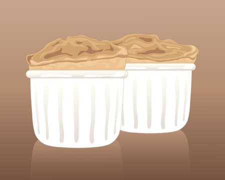 souffle: an illustration of two fluffy light vanilla souffle puddings in white ramekins on a brown background