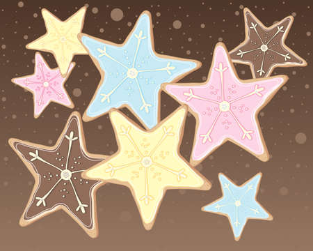 comfort food: an illustration of iced christmas cookies in the shape of stars with festive decoration in blue pink yellow and brown on a snowy background Illustration