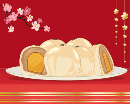yolk: an illustration of egg yolk cake from taiwan on a white plate with whole and halves showing the filling on a red and gold background with pink blossom
