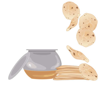 atta: an illustration of a stack of chapattis with metal cooking pot and lid on a white background