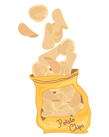 processed food: an illustration of potato chips flying out of a crumpled packet on a white background