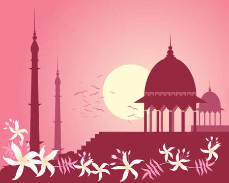 minarets: an illustration of a city skyline in india with historic architecture and jasmine flower design under a rose sunset sky