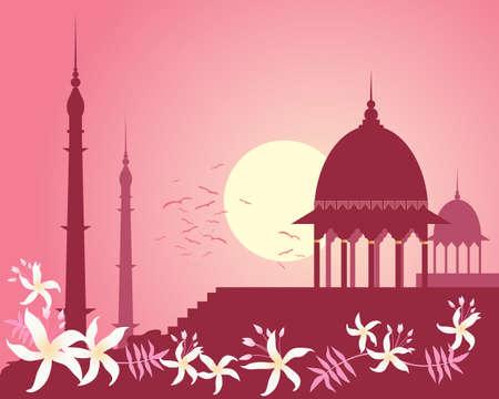 india city: l'illustrazione di skyline di una citt� in India con l'architettura storica e design fiore di gelsomino sotto un cielo rosa tramonto