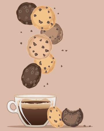 een illustratie van chocolade chip cookies met een kopje koffie en kruimels op een bruine achtergrond Stock Illustratie