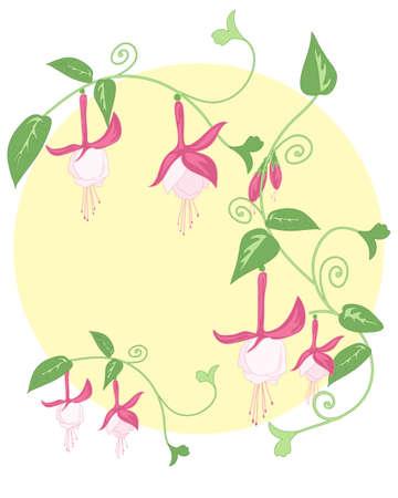 flores fucsia: una ilustraci�n de un dise�o floral con estilizados follaje y bastante fucsia flores verdes sobre un fondo amarillo sol Vectores