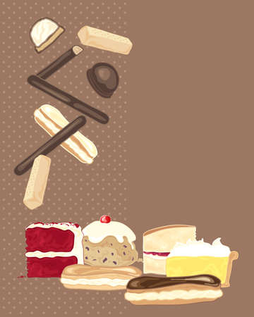 eclair: an illustration of a collection of sweet biscuits and cakes on a brown background with space for text Illustration