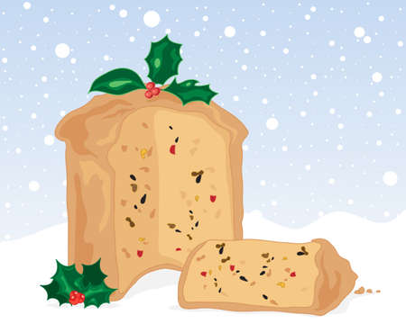 fruit cake: an illustration of a christmas fruit cake and slice with holly decoration on a snowy background