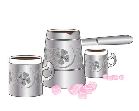 turkish dessert: an illustration of a fancy silver jug of turkish coffee with matching cups and squares of turkish delight on a white background Illustration