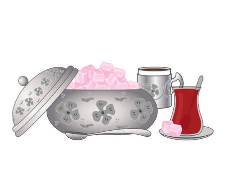 turkish dessert: an illustration of a decorative silver bowl of pink turkish delight with traditional tea and coffee on a white background