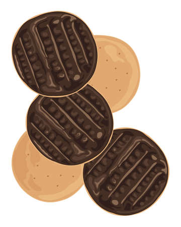 an illustration of half coated chocolate biscuits scattered on a white background