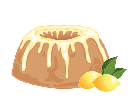 frosting: an illustration of a round lemon drizzle cake with frosting and lemon bits on a white background with two whole lemons and foliage