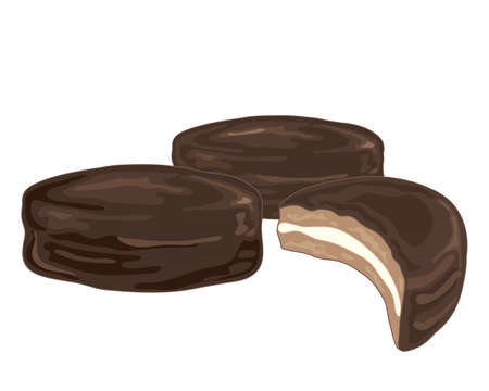 eaten: an illustration of a chocolate sandwich biscuit snack with whole and half eaten on a white background Illustration