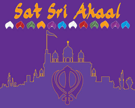 gurdwara: an illustration of a punjabi greeting card in purple and saffron colors with gurdwara and sikh symbol Illustration