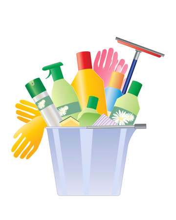 an illustration of a plastic bucket with rubber gloves and a selection of cleaning products with cloths and sponges on a white background Illustration
