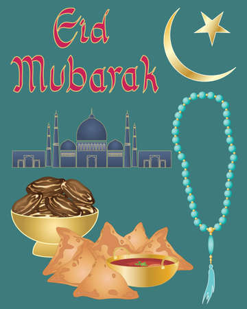 iftar: an illustration of an islamic prayer greeting card design with star and crescent moon mosque iftar food and prayer beads on a blue green background