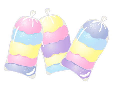 cotton candy: an illustration of three clear bags of colorful cotton candy in pink purple blue and yellow on a white background