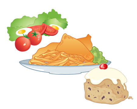 battered: an illustration of a fast food meal including salad fish and chips and an iced bun for dessert on a white background Illustration