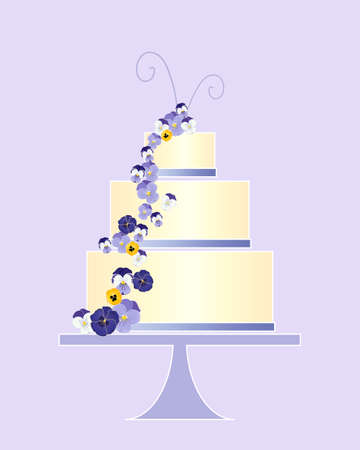 cake stand: an illustration of a beautiful wedding cake greeting card design decorated with violet ribbon and pansy flowers on a purple background