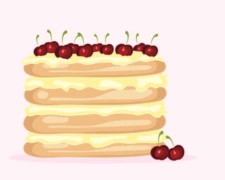 to cake layer: l'illustrazione di un creativo torta a strati ciliegio con freschi strati crema spugna e ciliege rosse succose per la decorazione su sfondo rosa